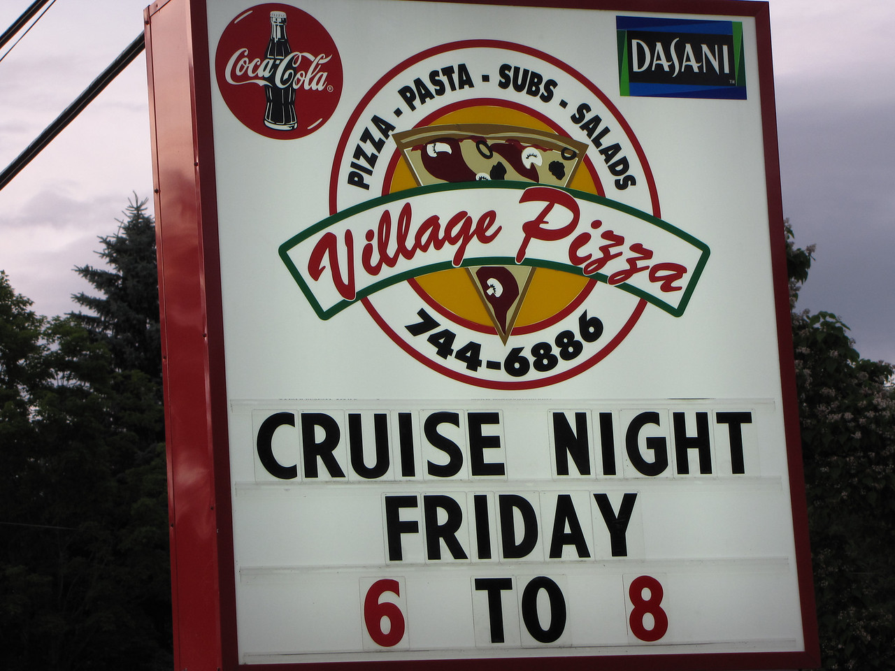 No not The Villages, Florida but Village Pizza in Bridgewater, New Hampshire.  Just down the road from our campground.