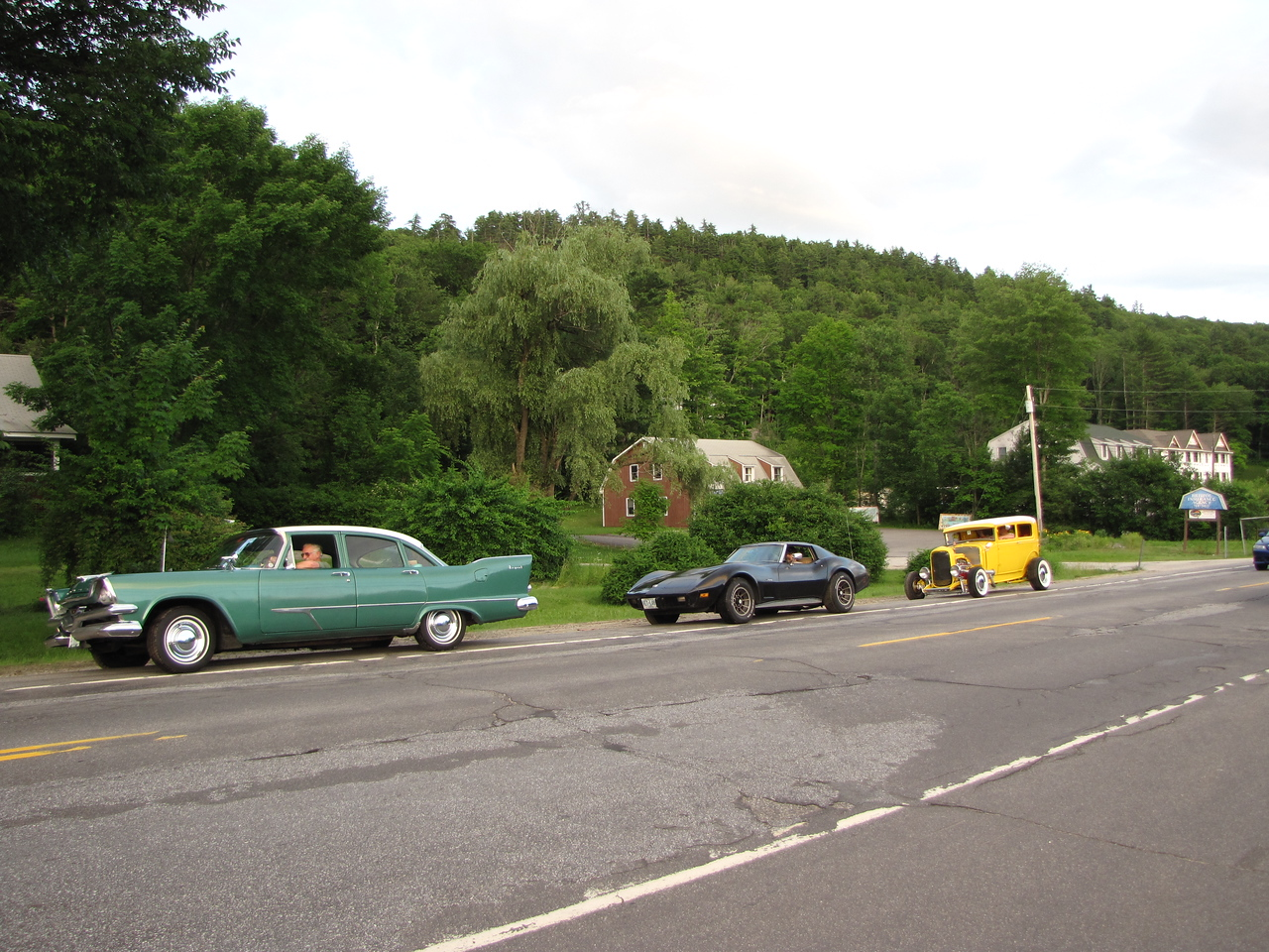 The last few lined up for their Friday night cruise around the lakes and back roads of Bridgewater, New Hampshire.