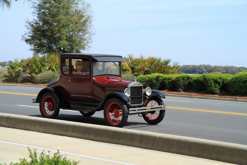 Model T's heading into Sumter Landing Town Square, in The Villages, Florida.