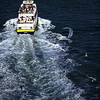Kite Surfer wake boarding behind a Blue and Gold Tourist Boat