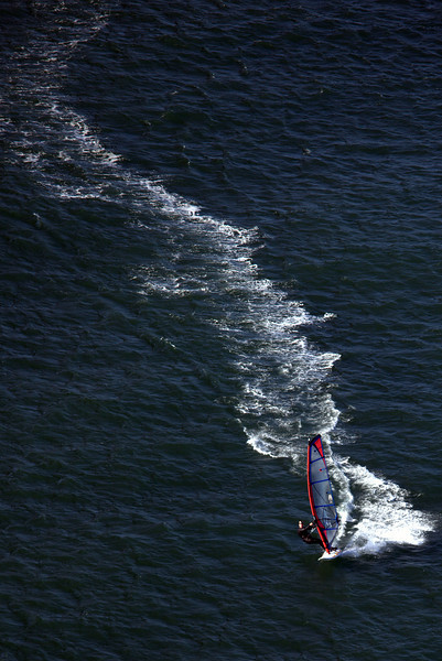 Wind Surfing near the Golden Gate Bridge