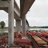 Bridge and elevated way construction equipment not cleaned up yet.