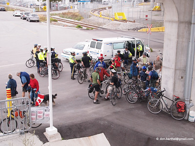 After the opening ceremony, lots of bike cops.