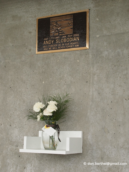 Memorial to young, inexperienced, crane operator that died when his crane tipped over while building the bridge.