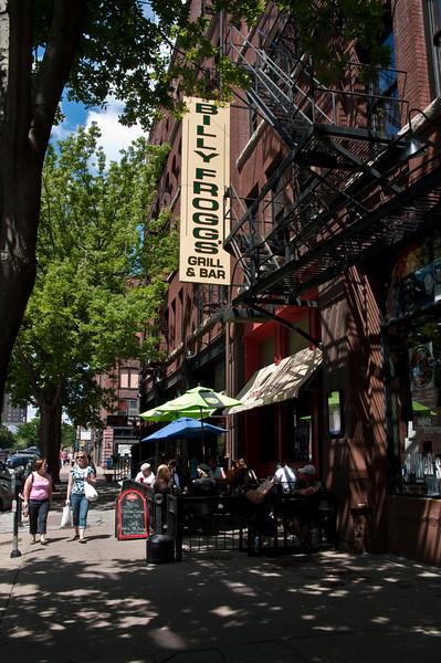 The sidewalk restaurants were full.