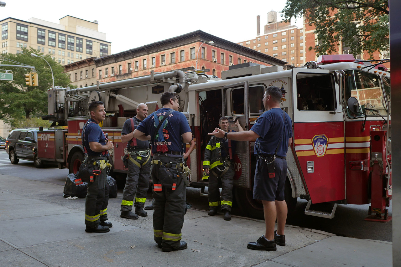 FDNY members relaxing, <br /> 9.10.15 <br /> 100st St & B'wy.