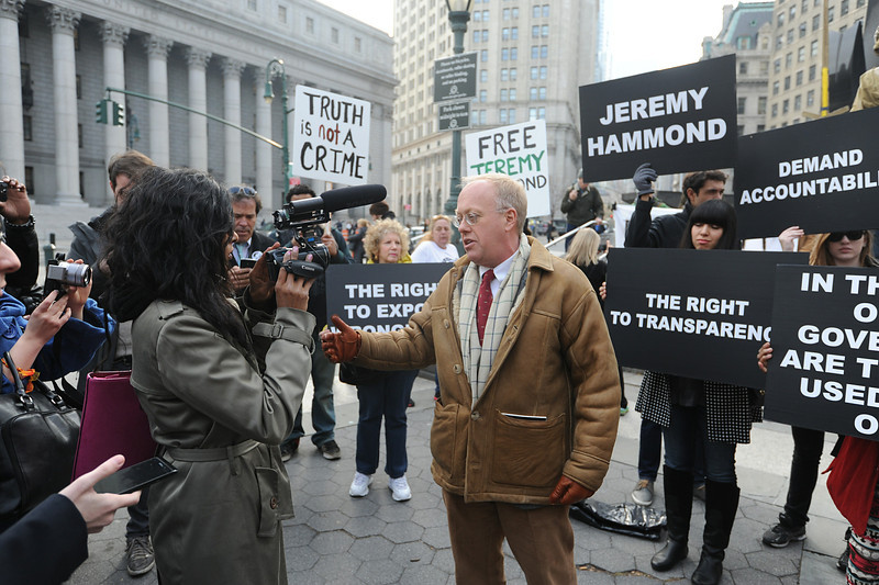 Jeremy Hammond: Jailed for 10 Years for an act of civil disobedience. <br>Priya Reddy interviews Chris Hedges at the sentencing of Jeremy Hammond in NYC Nov 25 2013.