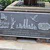 Fort Lee, NJ - Constitution Park - A girder that stood in the North Tower just above to the left of the impact zone and a foundation plate of the South Tower.