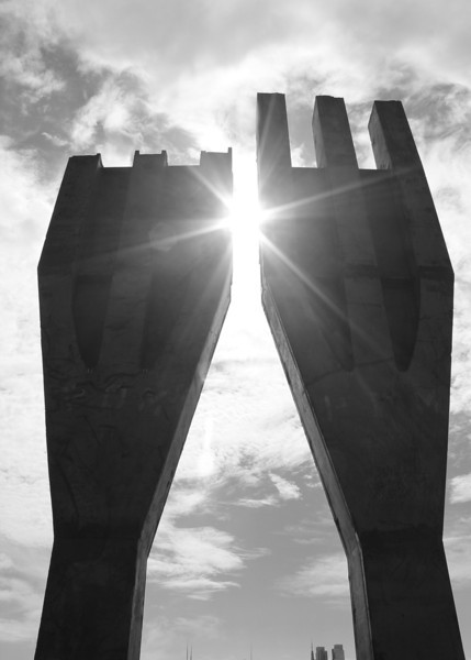 Weehawken, NJ - These Tridents once stood at the base of the World Trade Center.  Each Trident held 3 columns that made up the exterior walls of the WTC.