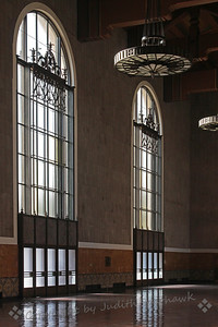 LA Union Station ~ A Los Angeles adventure begins beautifully at the train station.  This is a view of some of the station windows.