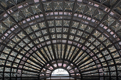 LA Union Station Skylight ~ This beautiful window in the ceiling at the train station gives a decorative feel.  Viewed in the larger sizes shows the intricate details of the glass and metal artistry.