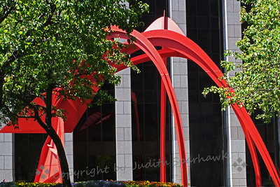 Sculpture at the B of A ~ This large metal sculpture was in the patio in front of the Bank of America building.