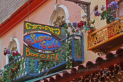Super Grill ~ This decorative sign was on one of the restaurants in the St. Vincent Square food court area.