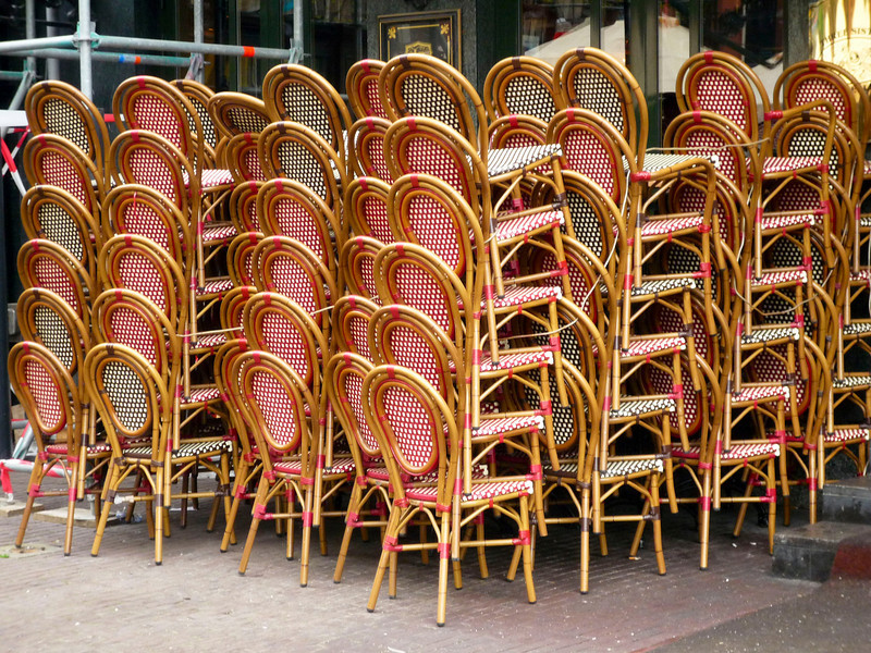 chairs stacked up on Leidseplein