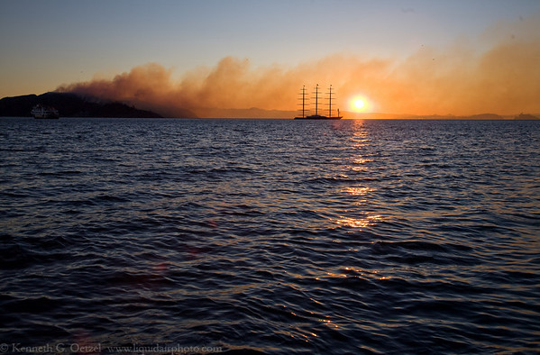Angel Island fire and the Maltese Falcon.