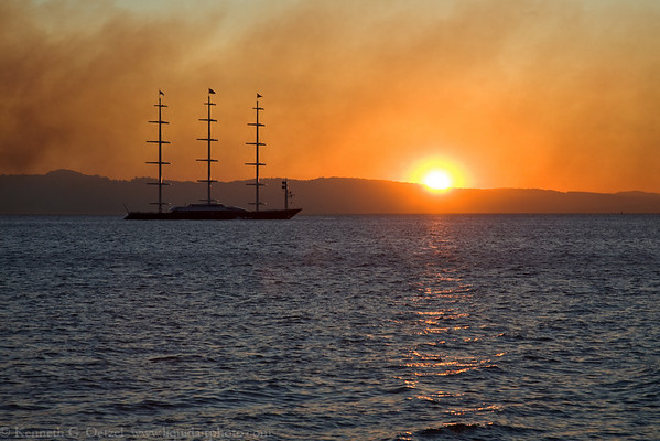 The Maltese Falcon in a smoky sunrise.