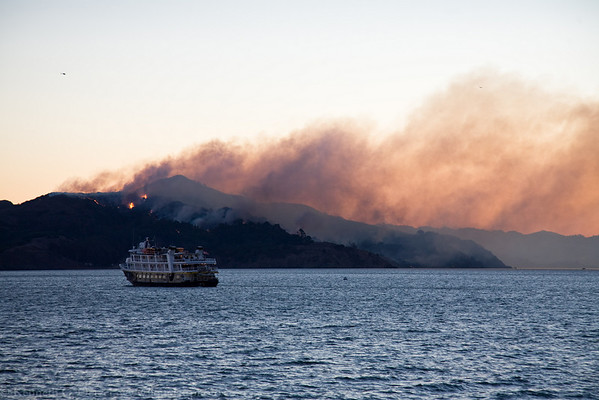 Angel Island burning.