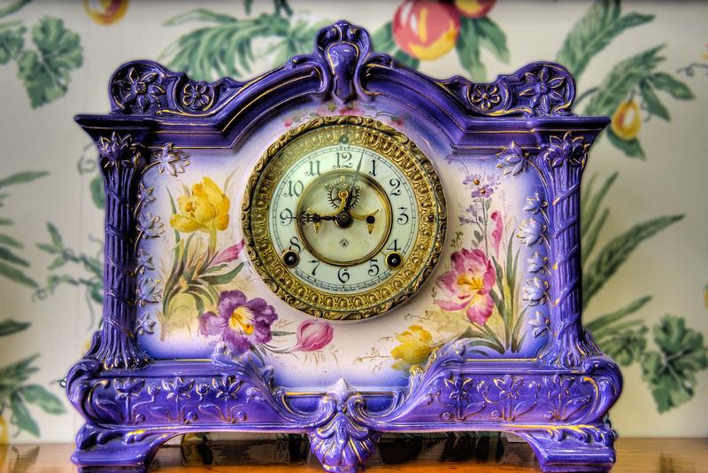 Antique clock in Mary Margaret's Tea & Biscuit restaurant.