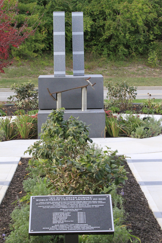 9/11 memorial at Arnold, MO.  Dedicated on 11 Sept 2011 - the 10th anniversary of the tragedy.  The lighted display is located at the joint Library / Recreation Center.
