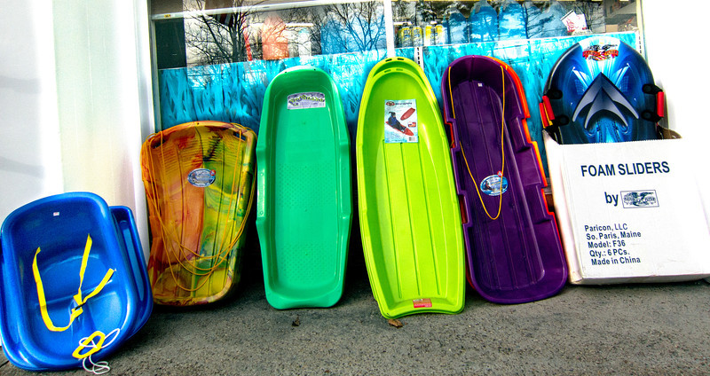 Plastic sleds in front of Bedford True Value Hardware