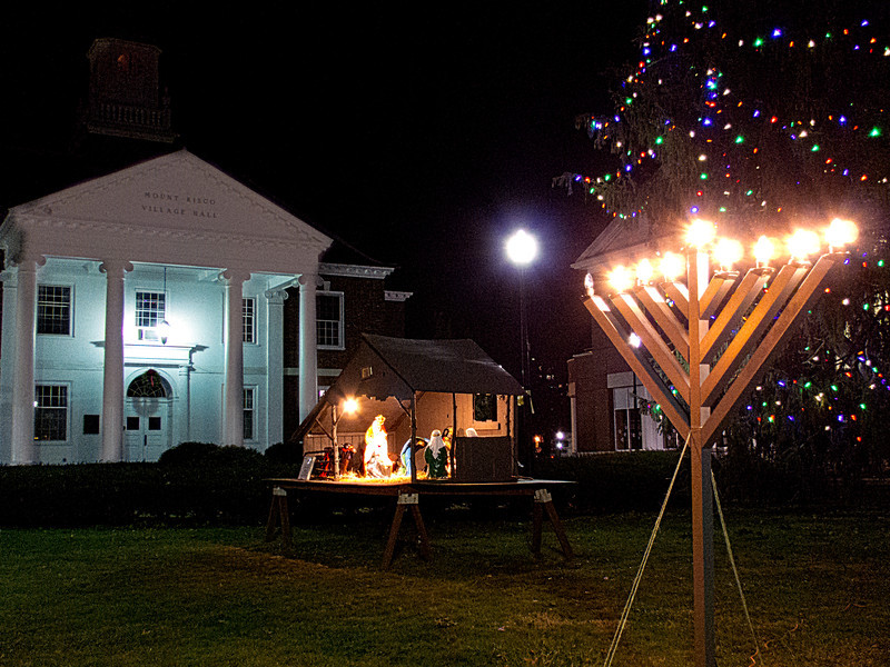 Mt Kisco Village Hall With Creche and Menorah on New Year's Eve, 2011