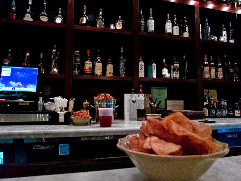 The bar at Cafe of Love restaurant, Mit Kisco, NY on New Year's Eve.  Great locally grown ingredients in amazing dishes.