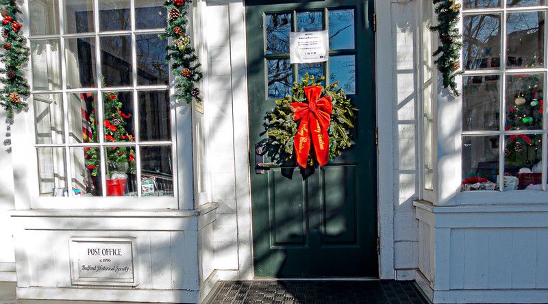 Bedford Village Post Office Decorated for Christmas