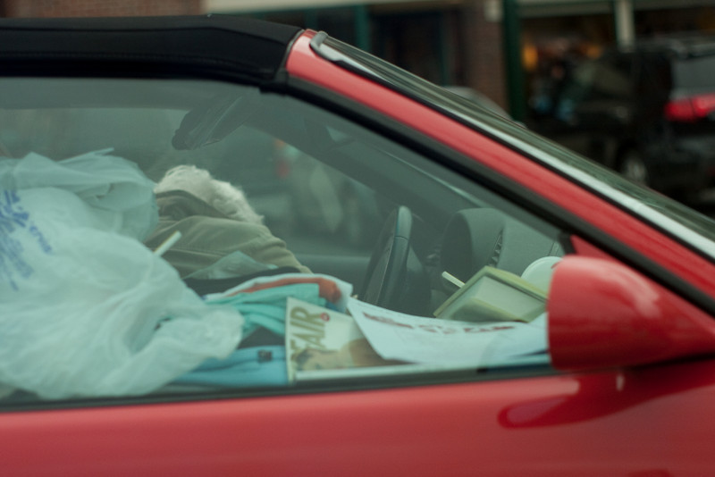 Woman's home in her car, Mt Kisco, NY