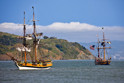 The Lady Washington and Hawaiian Chieftan come into Sausalito