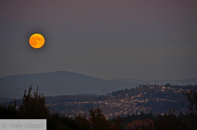 Full moon over Mt. Hood