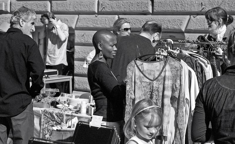 Bald Boldness. Streetmarket in Nansensgade, Copenhagen. Summer 2008.