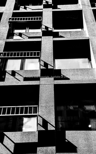 Monochrome vertical image of severe style building