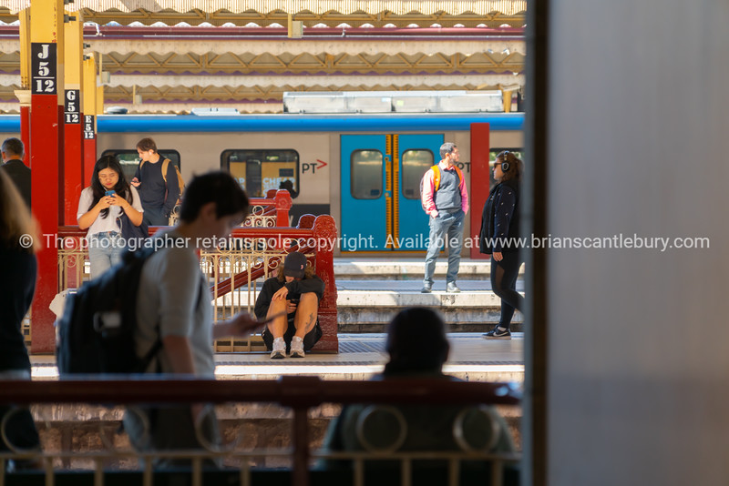 Urban passenger train station.