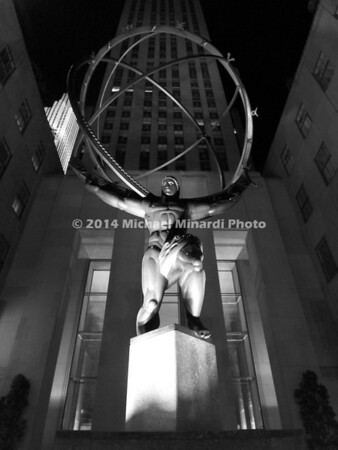 Atlas Statue in B&W in NYC EPV0787