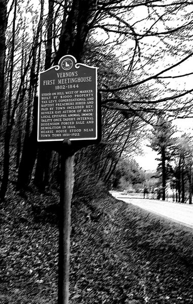 Animal Immortality; historical marker, Vernon, VT; weird background impressionism courtesy of Photoshop and an otherwise lost afternoon at the office