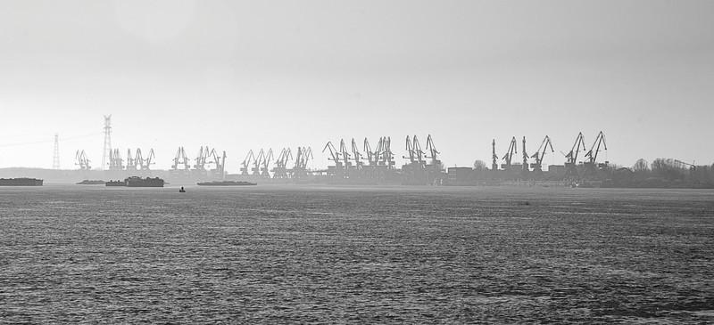Lower Danube River port cranes, Romania (See Travel>Romania>The Danube Delta)
