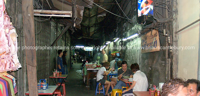 Bangkok life, dining out in back street of Bangkok. Thailand.