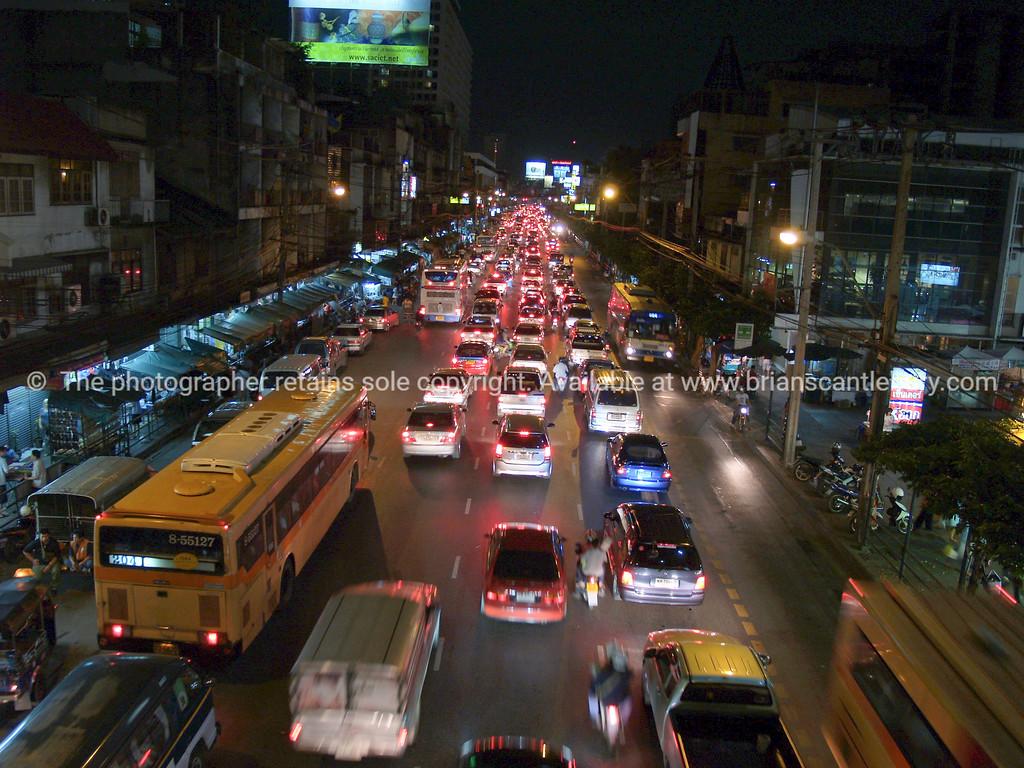 Bangkok streets at night. Thailand.