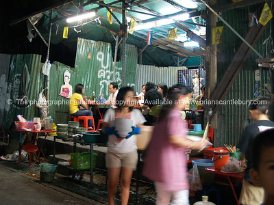 Bangkok, a city food outlet, preparing food for customers. Thailand.