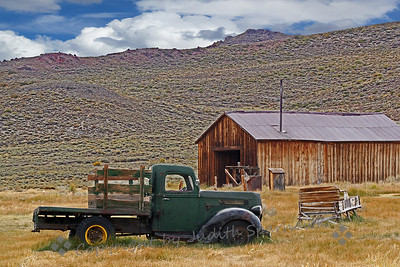 The Old Green Truck ~ This photograph shows an old truck by an out-building, part of Bodie, California.