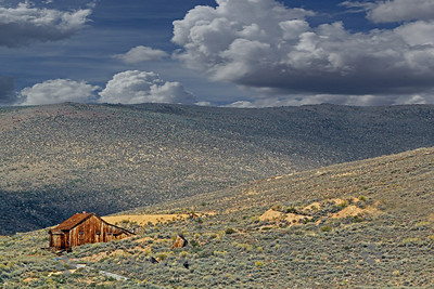 House on the Hill ~ This old house, including the tilted outhouse out back, stands alone on this desert hillside.  The elevation of Bodie is 8379 feet, on the desert foothills of the eastern Sierras.