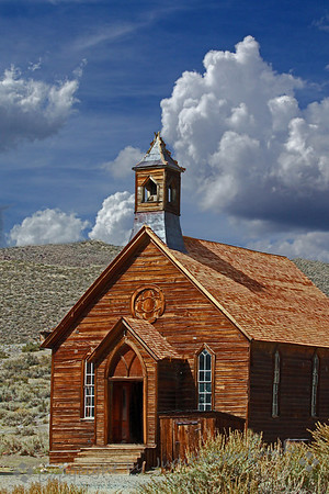 Church at Bodie ~ This is the last remaining church in Bodie ghost town.  It was originally a Methodist Church.  It is on one of the main streets of Bodie, and has interesting details.