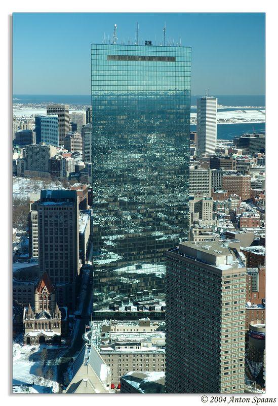 Hancock Tower in wintery Boston.