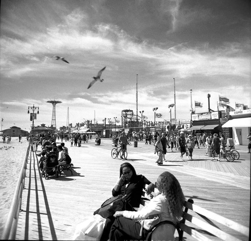 Coney Island, Luna Park.   Kiev 60, Arsat meter, HP5+ Xtol 1:1 12 minutes.  Arsat  45mm.  Singh Ray 2 stop soft Grad.