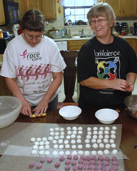 Making mints for Luke's wedding.