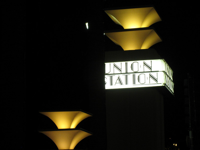 The beautifully restored Union Station in Los Angeles, a mix of art deco and Spanish mission styles.