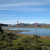 The Golden Gate Bridge, with a good example of the bay's marshy shoreline.