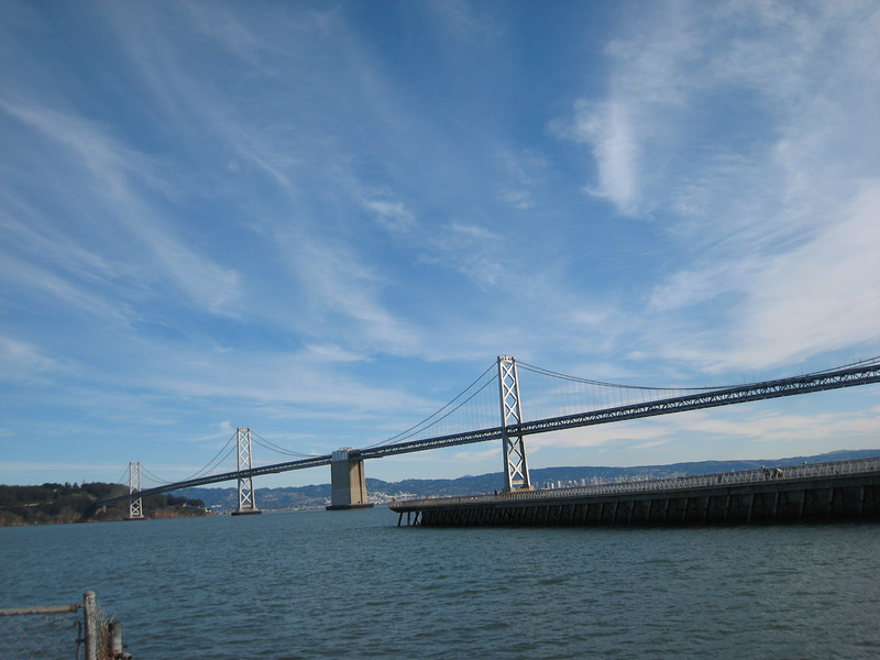 No, it's not the Golden Gate Bridge: this is the western span of the lesser-known Bay Bridge.