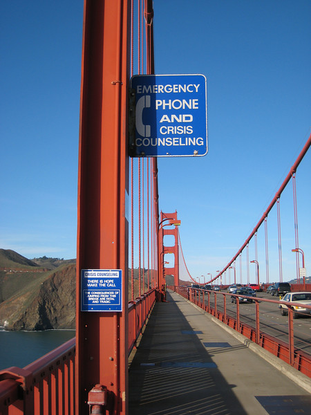 There are many of these stations along both sidewalks on the Golden Gate Bridge, which is apparently the biggest suicide destination in the world.