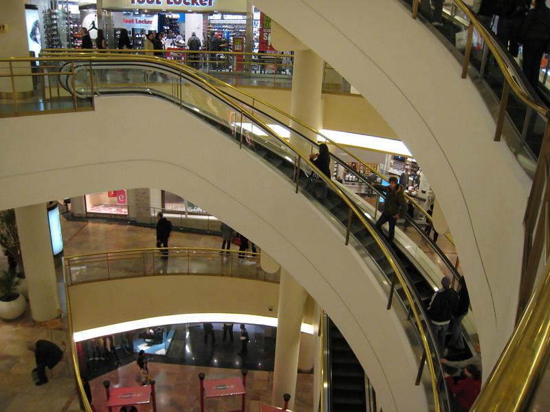 Curved escalators in San Francisco Centre.